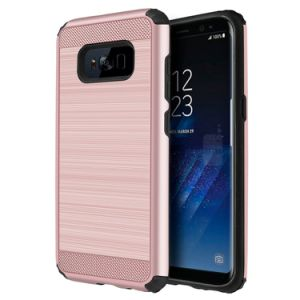 Shockproof Dual Layer Brushed Metal Textured Anti-Slip Grip Rugged Case for Samsung Galaxy S8 pictures & photos