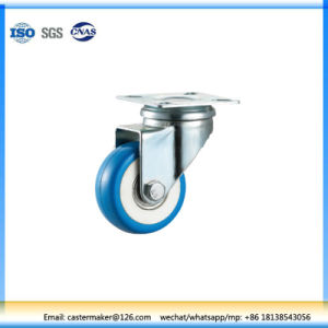 50mm Diameter Blue PU Light Duty Rotationary Solid Wheel Swivel Caster pictures & photos