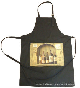 Promotional Custom Made 2 Pockets Black Wine Printed Cotton Kitchen Cooking Baking Bib Apron pictures & photos