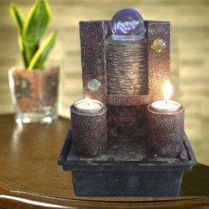 Resin Water Fountain With Candles (SY908010)