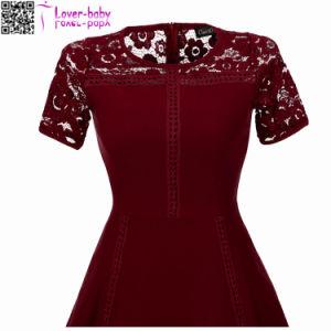 Sexy Vintage Summer Lace Round Neck Short Sleeve Princess A Line Tea Dress L36173-1 pictures & photos