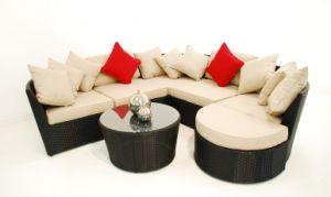 Outdoor Rattan Garden Furniture, Love Corner Wicker Sofa Set in Black (P-LLS01)