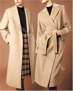 China Women′s 100% Cashmere Long Coat with Button and Belt - China ...