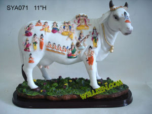 Polyresin Indian God Nandi Cow Statue for Diwali Pooja (SYA071)