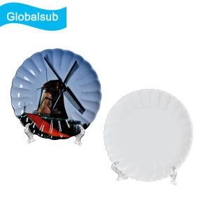 "Globalsub Sublimation Wavy Flat Ceramic Plate with Clock 6.5"" pictures & photos"