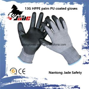 13G PU Coated Cut Resistant Glove Level Grade 5 pictures & photos