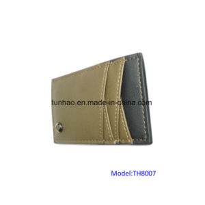 Olive 4 Slots Slim PU Leather Clip Cardholder pictures & photos