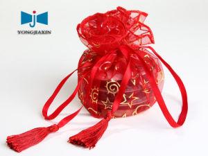 Red Organza Sachet Bag With Tassel (OP-51026A)