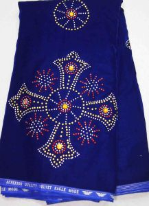 2013 Fashion Velvet Lace Fabric with Crystal Cl4024-Royal Blue