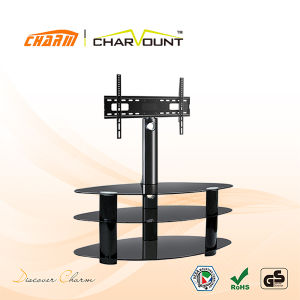 3 Tiers Round Tempered Glass Plasma TV Stand Rotating (CT-FTVS-K302B) pictures & photos