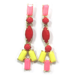 Fashion Jewelry Resin Colorful Drop Earring, Nickel Free (HER-11196)