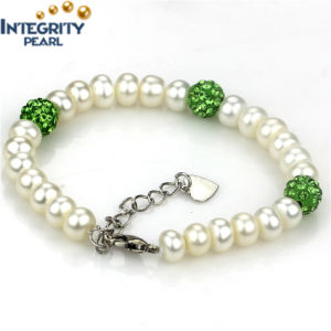 7mm AAA with Green Crystal Ball Freshwater Bread Round Pearl Bracelet pictures & photos