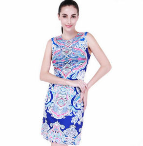 2016 Latest Ladies Western Floral Casual Print Dress pictures & photos