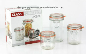3 PC Mini Glass Storage Jar Set with Airtight Glass Lid pictures & photos