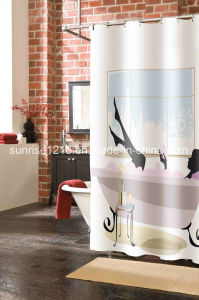 Cheaper Polyester Curtain Sr-S170222-2 Printed Microfiber Shower Curtain pictures & photos