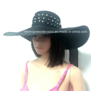 100% Straw Hat, Fashion Floppy Style with The Rivet Decoration pictures & photos