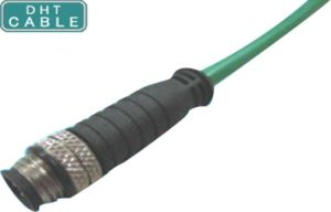 Straight and Right Angle M12 Waterproof Cable Assembly with Fix Screw Circular Signal Connector