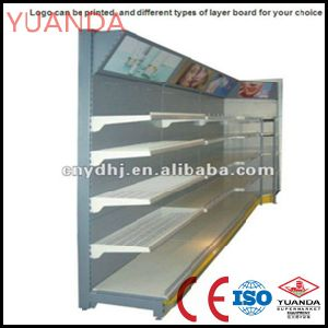 Yd-S5/ 2013 Modern Design Supermarket Cosmetic Display Shelf with End Shelf and Lamp Box CE Certification pictures & photos