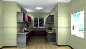 Modern Stainless Steel Kitchen Furniture (MK034)