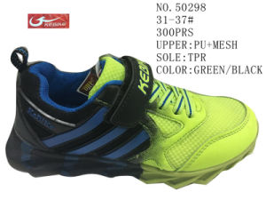 Green Black TPR Children Sport Shoes pictures & photos