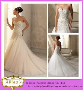2014 Charming Mermaid Sweetheart Sleeveless Beading Drop Waist Tulle Lace Wedding Dresses (HS034)