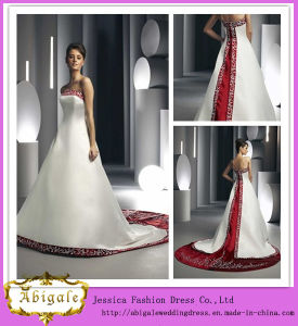 2014 New Designer Elegant A Line Strapless Unique Back Chapel Train Embroidery Satin Bridal White and Red Dress pictures & photos