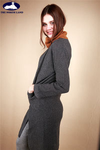 Cashmere Long Cardigan with Ribs pictures & photos