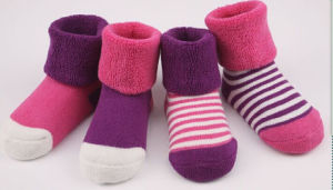 Baby′s 100 Cotton Loose Cuff Winter Baby Socks pictures & photos