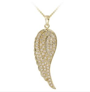 Custom Charm Rhinestone Wings Pendant with Women Necklace for Stainless Steel Jewelry