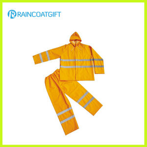 2PCS PVC Polyester Waterproof Workwear with Reflective Tape pictures & photos