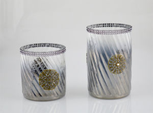 Glass Candle Holder with Colorful Diamonds pictures & photos