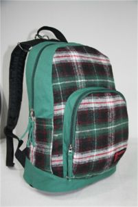 Cotton Fleece Checker Double Shoulder Strap Backpack for Younger (WS-001) pictures & photos