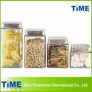 Glass Square Coffee Tea Sugar Canister Sets pictures & photos