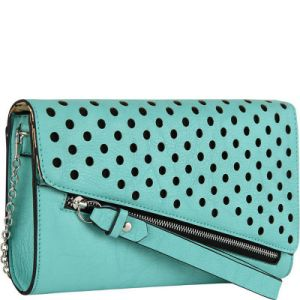 Fashionable PU Punching Ladies Evening Bag Stitching Clutch Bag pictures & photos