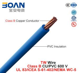 Tw, Building Wire, 600 V, Class B Cu/PVC (UL 83/ICEA S-61-402/NEMA WC-5) pictures & photos