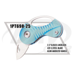"2.5""Closed Liner Lock Alum Handle Knife with Satin Blade (1PT698-25) pictures & photos"