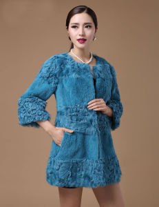 Women′s Rabbit Fur and Lamb Fur Patchwork Long Coat