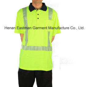 Bright Yellow Polo Shirt with Reflective Tape pictures & photos