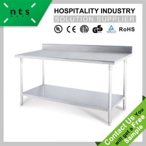 Stainless Steel Two Layers S/S Working Table (with backsplash) pictures & photos