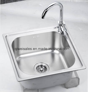 Stainless Steel Handmade Kitchen Sink with Soap Container (QW-M4744) pictures & photos