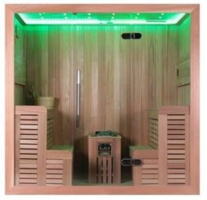 Double Side Seats Style 4 People Cedar Wooden Sauna Cabinet (M-6043) pictures & photos