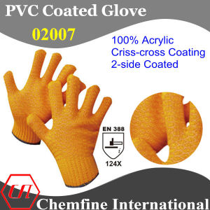10g Orange 100% Acrylic Fiber Knitted Glove with 2-Side Orange PVC Criss-Cross Coating/ En388: 124X pictures & photos