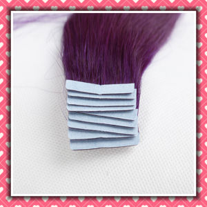 High Quality Remy Tape Human Hair Silky12inches Color Purple pictures & photos