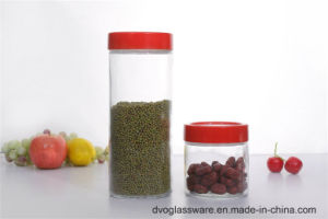 Glass Cilinder Storage Bottle with Plastic Cover