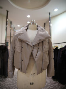 Women′s Short Down Jacket Coat with Big Turnover Collar pictures & photos