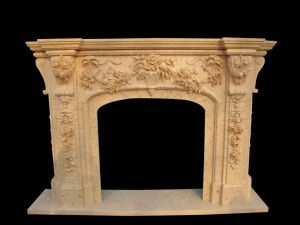 Egyptian Beige Marble Fireplace (FRP364) pictures & photos