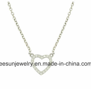 Sterling Silver Jewelry Simple Heart Necklace pictures & photos
