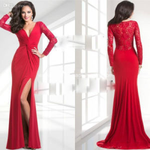 Sexy Red V-Neck Sheer Lace Long Sleeve Mother′s Dress Evening Dresses Z7024 pictures & photos