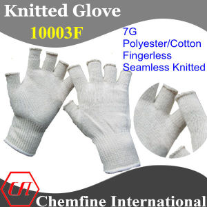 7g Natural Color Polyester/Cotton Knitted Fingerless Glove with White Over Lock pictures & photos