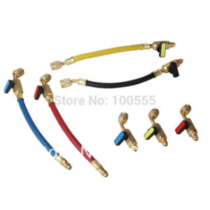 3 Color 3-Pack 1/4′′ 800psi-4000psi 15cm Premium Refrigerant Freon Charging Filling Hose with Adapter Pr315 pictures & photos